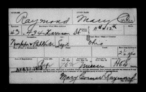 Scanned image of voter registration card for Mary Raymond, dated April 11, 1913
